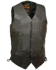 Milwaukee Leather Men's Black Classic Side Lace Biker Vest - Double X Tall , Black, hi-res