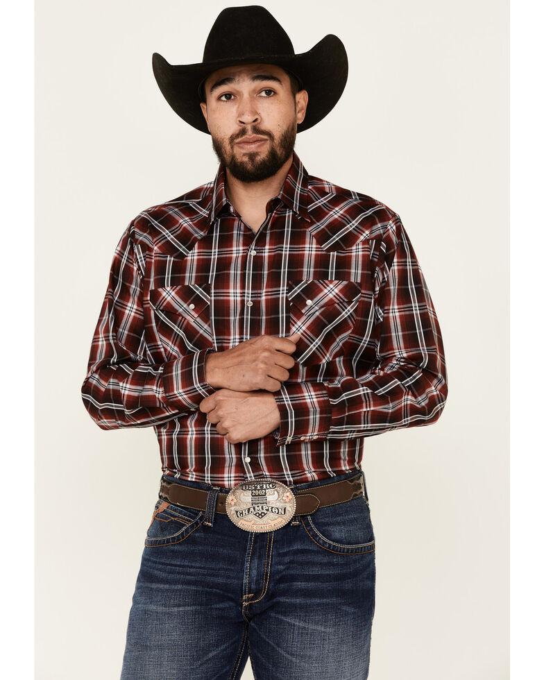 Ely Walker Men's Assorted Large Plaid Long Sleeve Snap Western Shirt , Red, hi-res