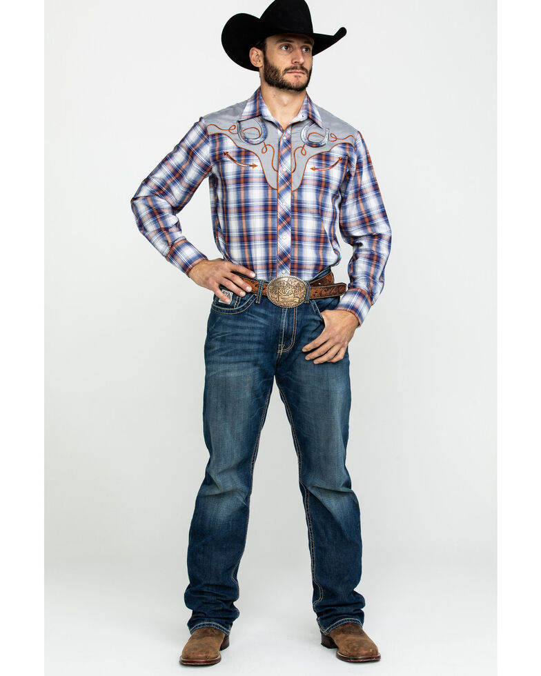 Roper Men's Multi Plaid Fancy Applique Long Sleeve Western Shirt , Blue, hi-res