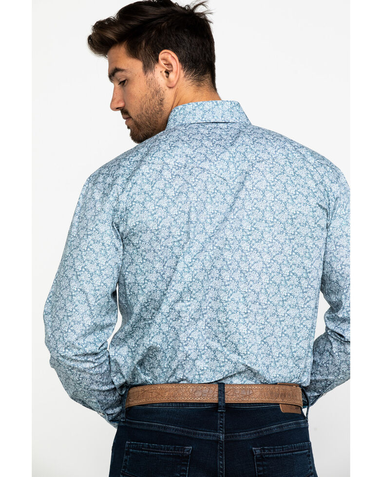 Rough Stock By Panhandle Men's Moulton Paisley Print Long Sleeve Western Shirt , Light Grey, hi-res