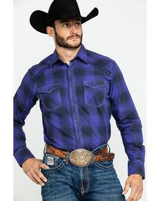 Rock 47 by Wrangler Men's Large Plaid Long Sleeve Western Shirt , Purple, hi-res