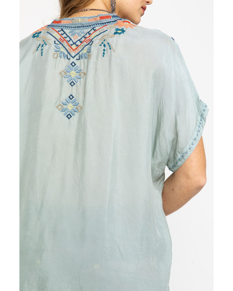 Johnny Was Women's Matson Cupro Blouse, Sage, hi-res