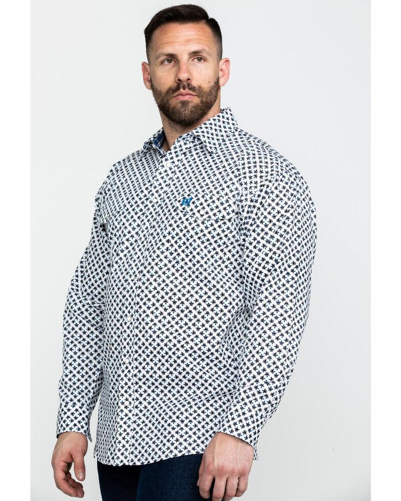 Panhandle Select Men's Blue Poplin Print Long Sleeve Western Shirt , Blue, hi-res