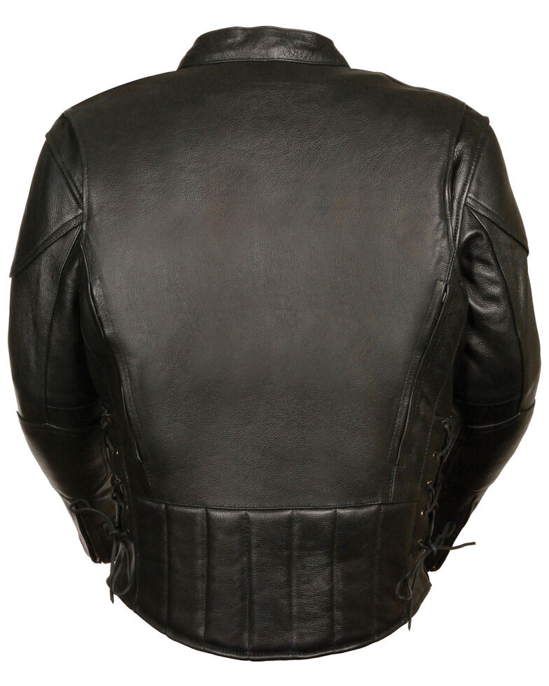 Milwaukee Leather Men's Side Lace Vented Scooter Jacket - 3X, Black, hi-res