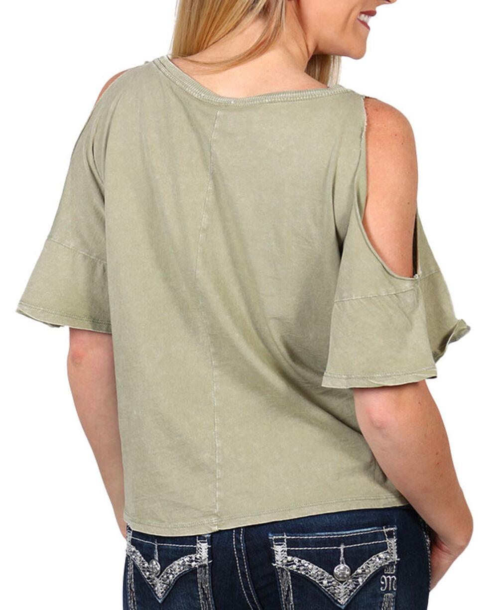 Others Follow Women's Cold Shoulder Tie Front T-Shirt, Olive, hi-res