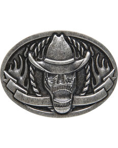 AndWest Men's Cowboy Skeleton Belt Buckle, Silver, hi-res