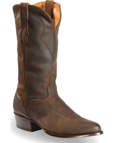 El Dorado Handmade Men's Tan Oiled Roper Boots - Medium Toe, Brown, hi-res