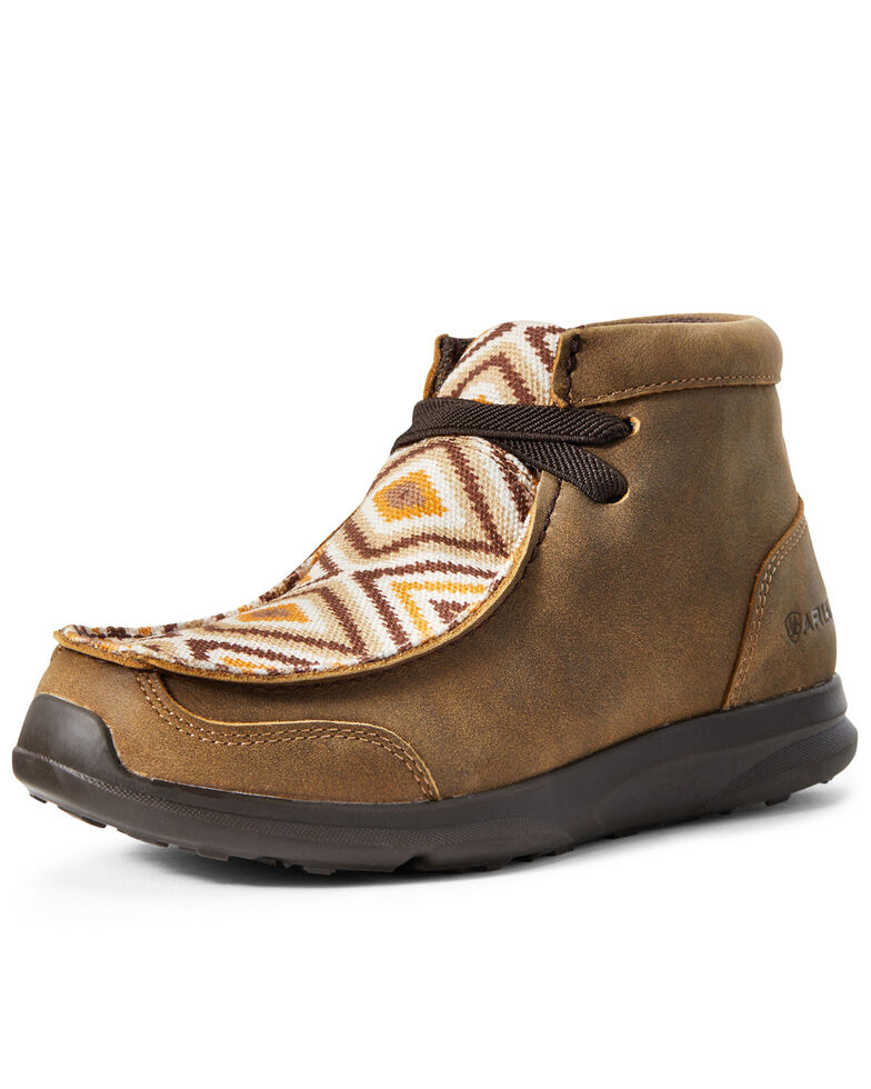 Ariat Boys' Aztec Spitfire Bomber Shoes - Moc Toe, Brown, hi-res