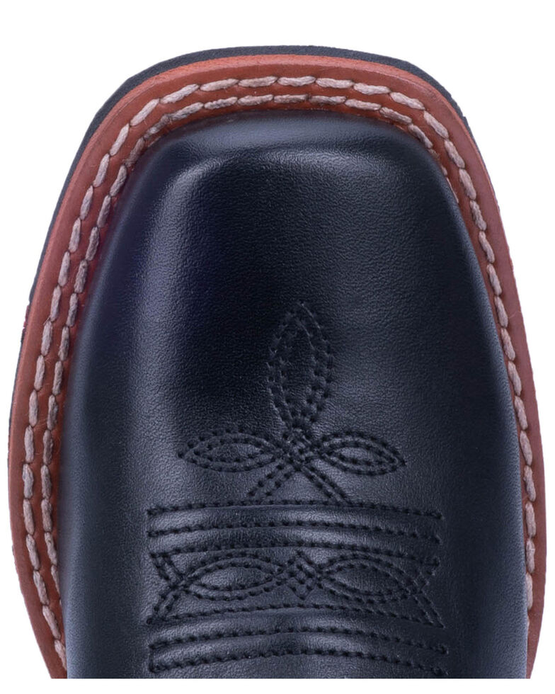 Dan Post Boys' Thin Red Line Western Boots - Wide Square Toe, Black, hi-res