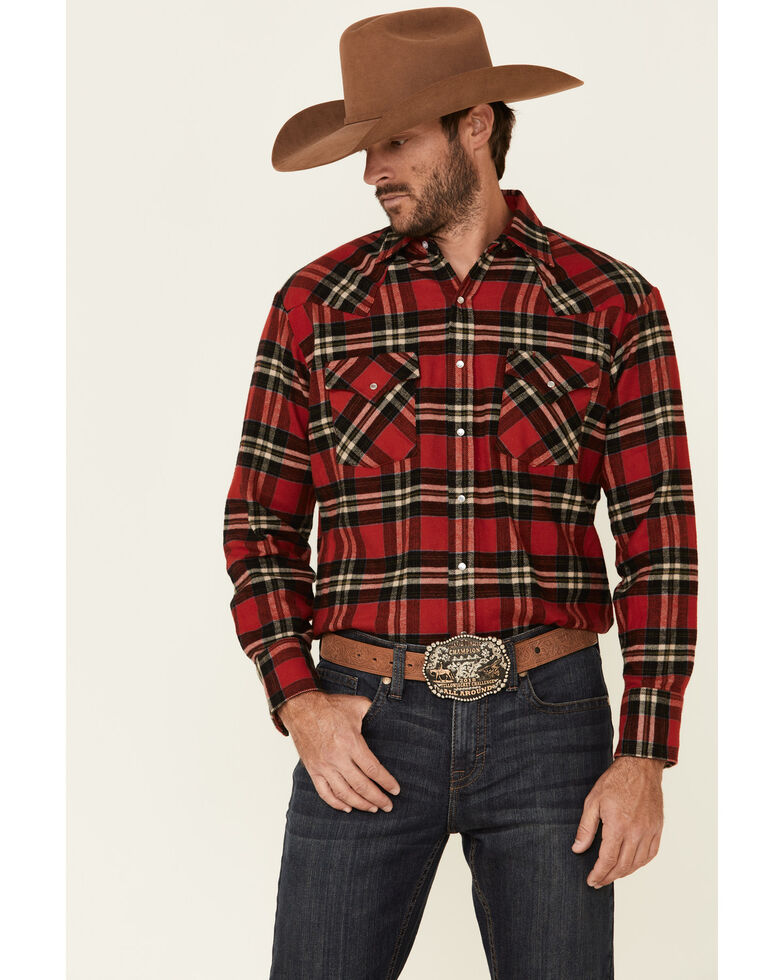 Ely Walker Men's 8.5 oz. Brawny Flannel Long Sleeve Western Shirt , Red, hi-res