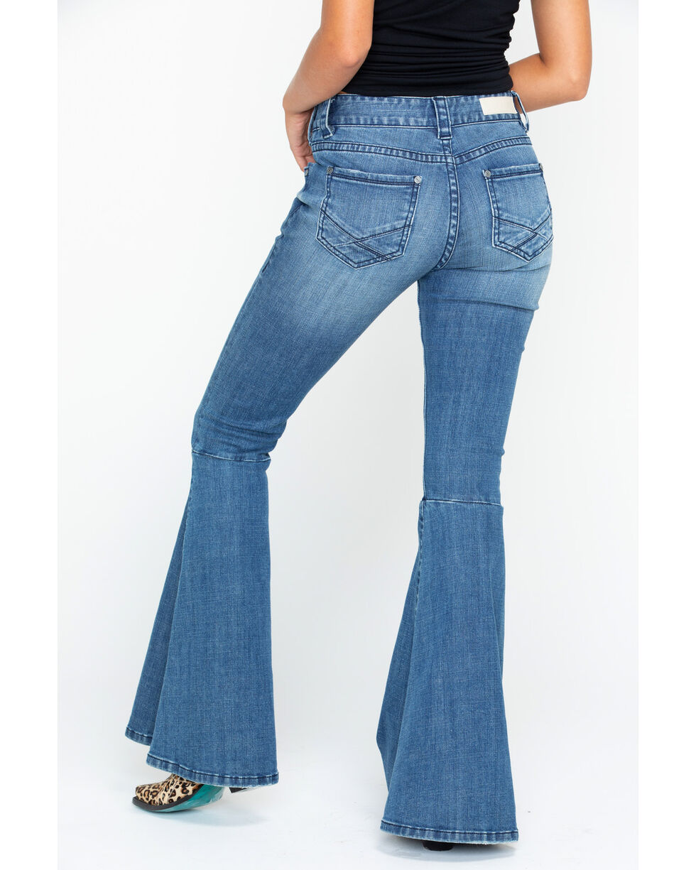 Rock&Roll Women's Midride Flare Denim Jeans , Indigo, hi-res