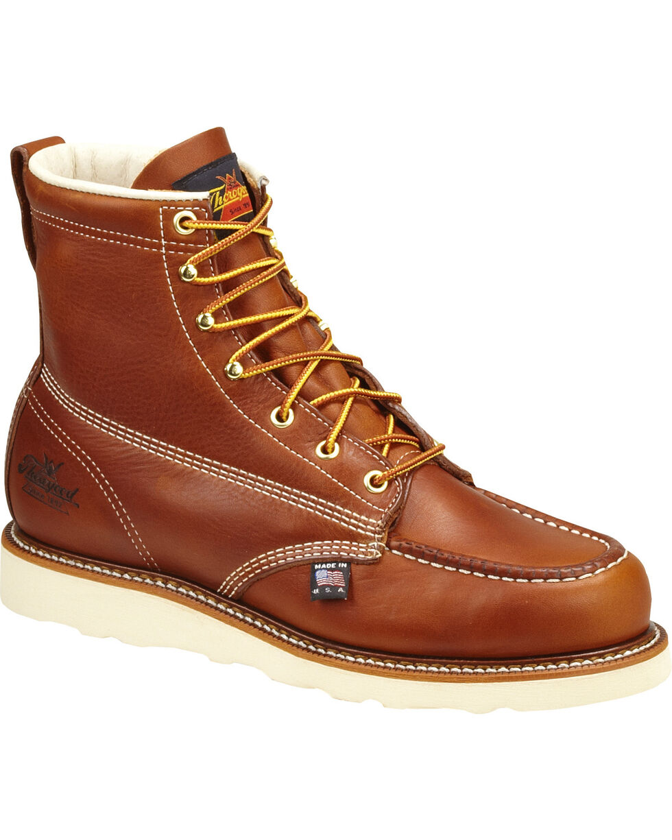 """Thorogood Men's 6"""" Moc Safety Toe Lace-Up Work Boots, Brown, hi-res"""
