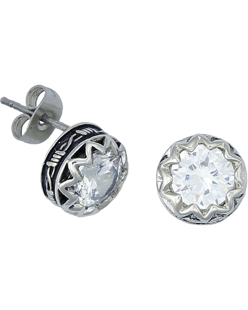 Montana Silversmiths Crystal Barbed Wire Stud Earrings, Silver, hi-res