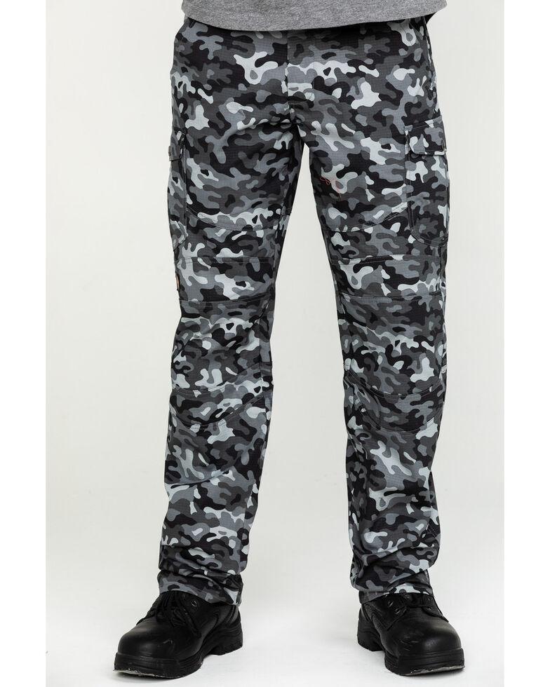 Hawx® Men's Grey Camo Stretch Ripstop Moto Cargo Work Pants , Black, hi-res