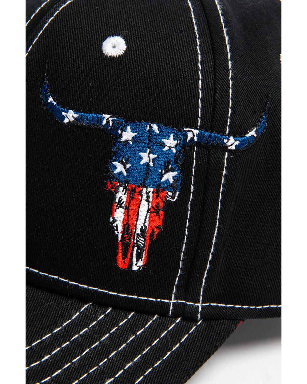 Cowyboy Hardware Men's  U.S.A. Skull Cap, Black, hi-res