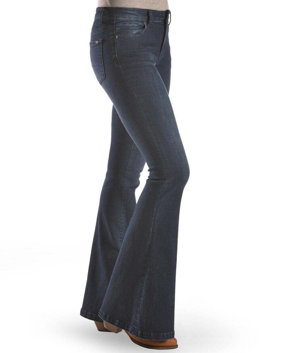 Tractr Women's Basic Fray Hem Flare Jeans , Indigo, hi-res