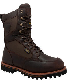 "Ad Tec Men's 11"" Cordura Waterproof 400G Leather Boots - Round Toe, Dark Brown, hi-res"