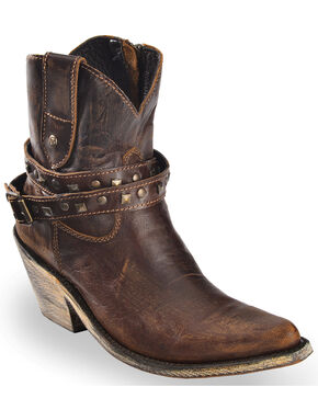 Liberty Black Women's Volcano Brass Studded Harness Booties - Pointed Toe , Brown, hi-res
