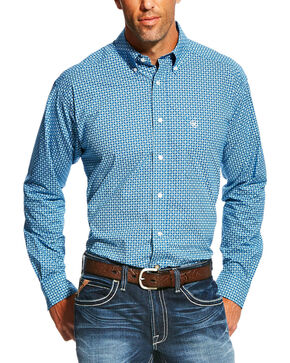 Ariat Men's Pattern Long Sleeve Shirt, Blue, hi-res