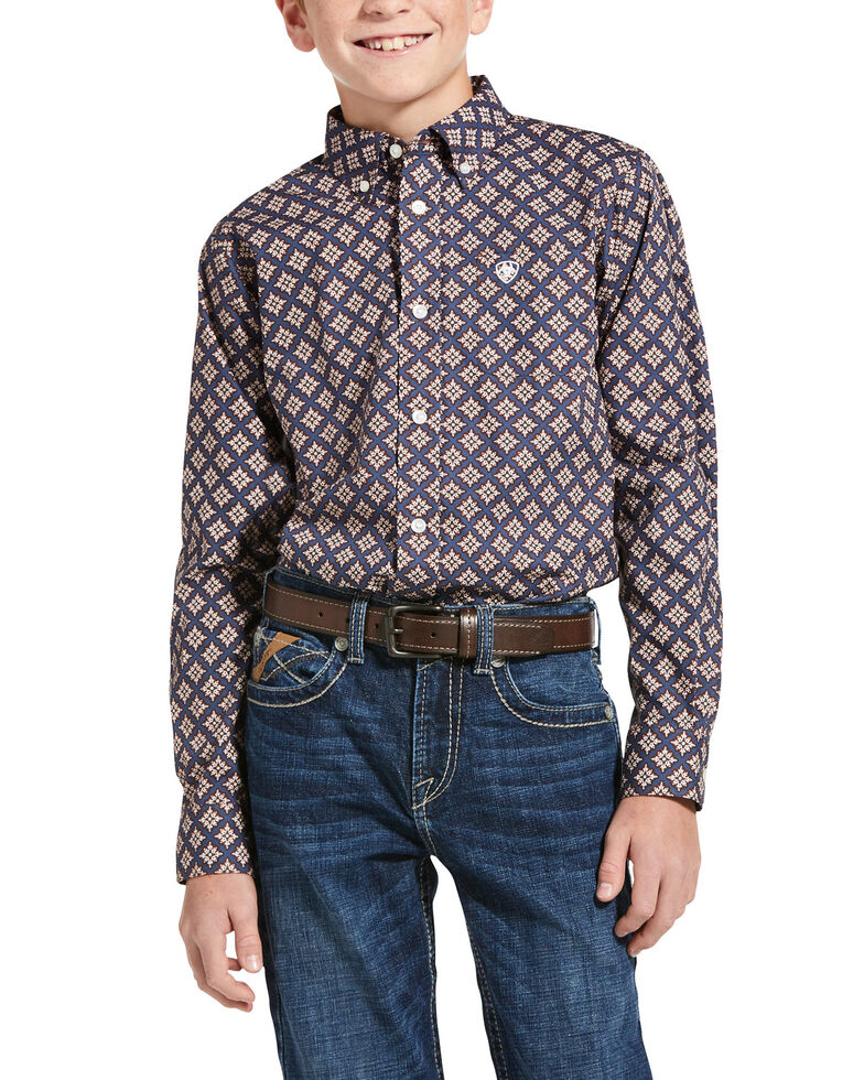 Ariat Boys' Jerri Diamond Geo Print Long Sleeve Western Shirt , Blue, hi-res