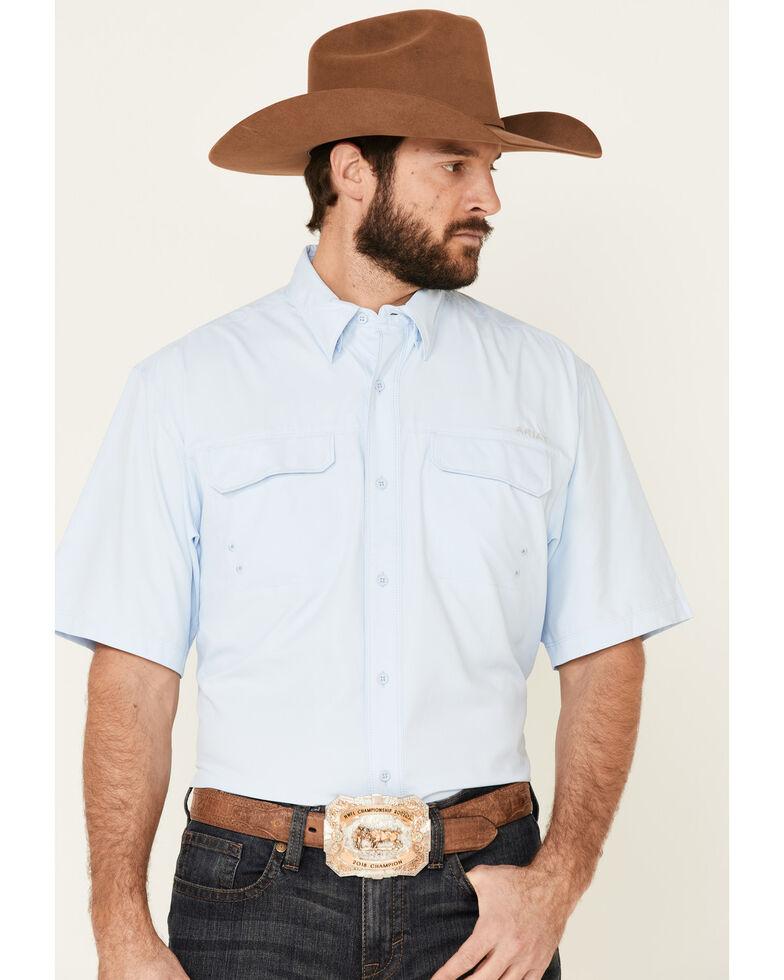 Ariat Men's Light Blue Outbound VenTek Solid Short Sleeve Western Shirt , Light Blue, hi-res