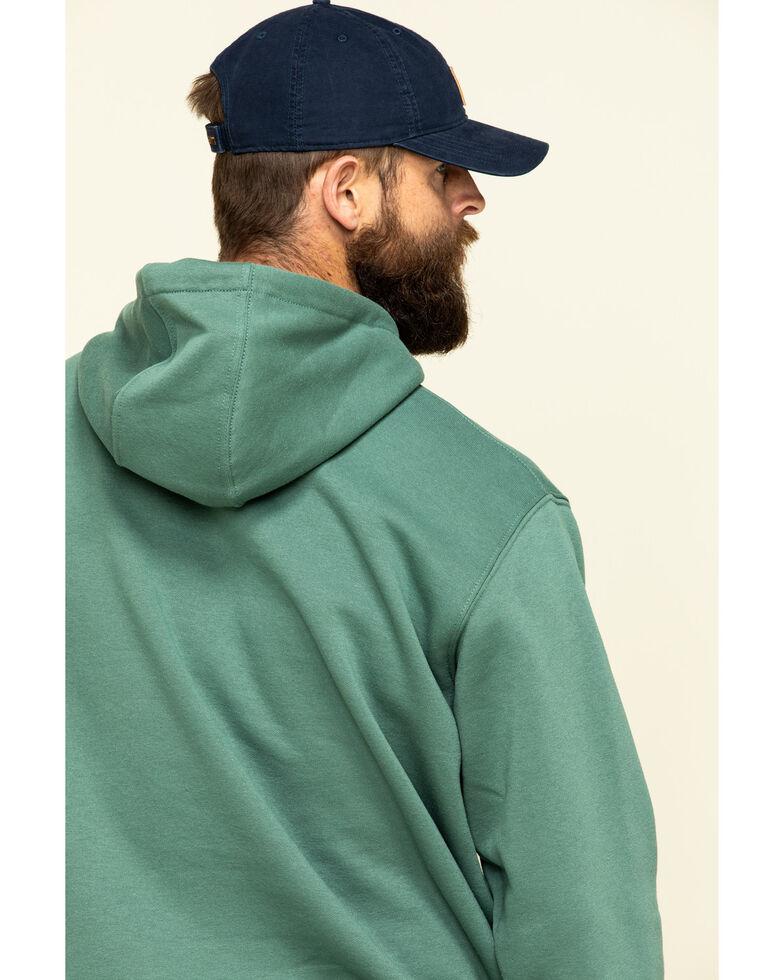 Carhartt Men's Olive Midweight Signature Sleeve Logo Hooded Work Sweatshirt - Big , Olive, hi-res
