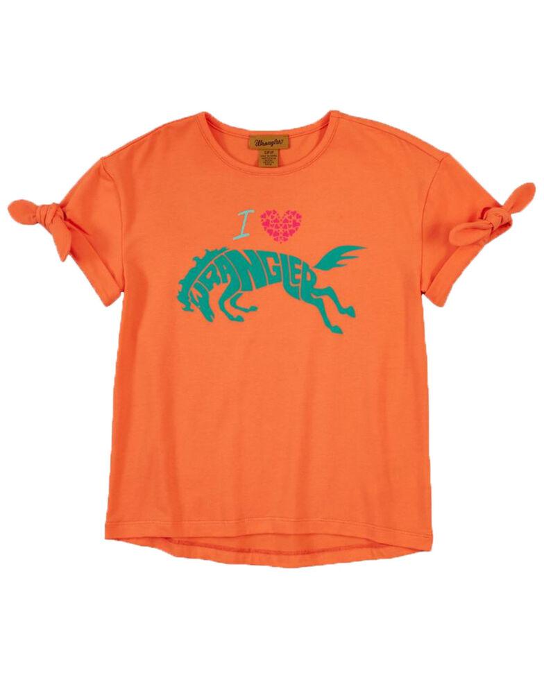 Wrangler Girls' Coral I Heart Wrangler Short Sleeve Graphic Tee , Coral, hi-res