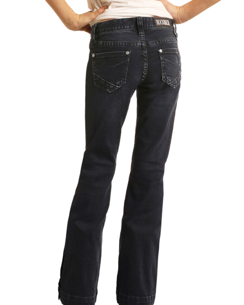 Rock & Roll Denim Girls' Dark Wash Button Hem Trousers, Blue, hi-res