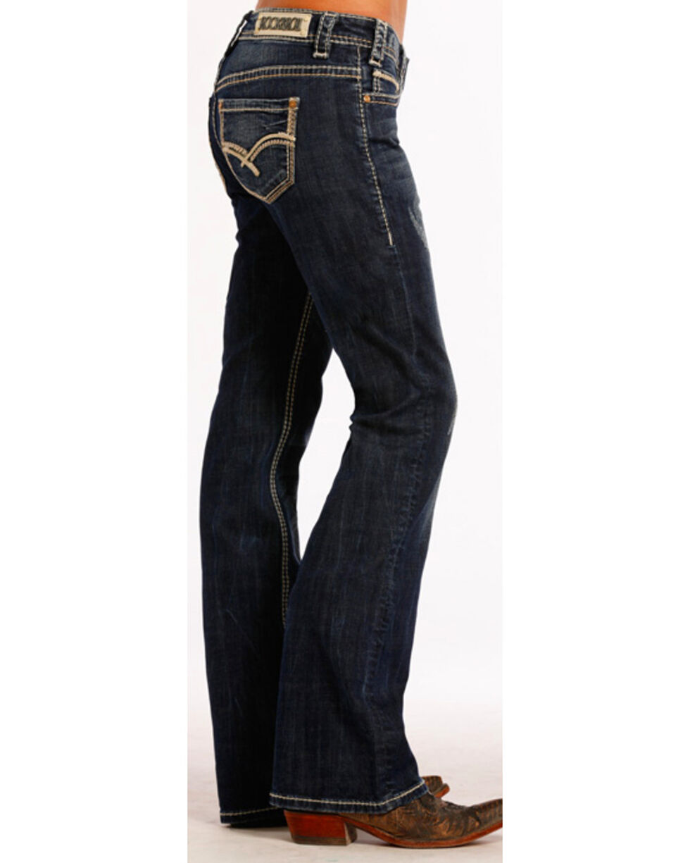 Rock & Roll Cowgirl Women's Dark Vintage Riding Jeans  , Blue, hi-res