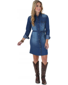 Wrangler Women's Long Sleeve Denim Dress, Denim, hi-res
