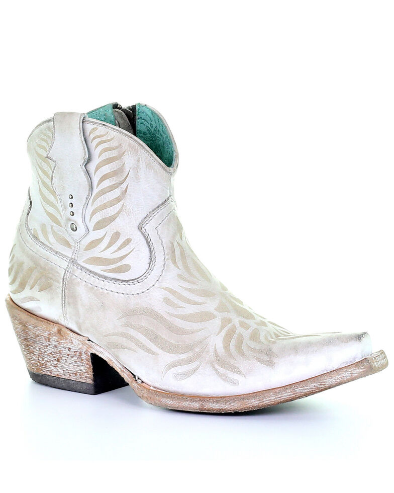 Corral Women's White laser Engraved Western Booties - Snip Toe, White, hi-res