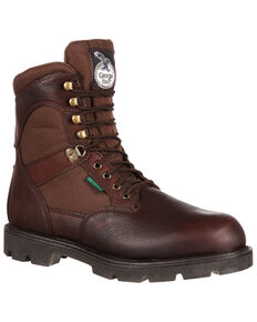 Geogia Boot Men's Homeland Waterproof Work Boots - Steel Toe, Brown, hi-res