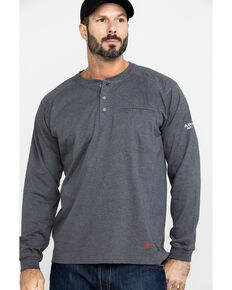 Ariat Men's FR Air Henley Long Sleeve Work Shirt - Big, Charcoal, hi-res