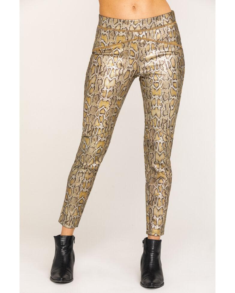 Free People Women's Gold Rio Snake Print Pull On Skinny Leggings , Gold, hi-res