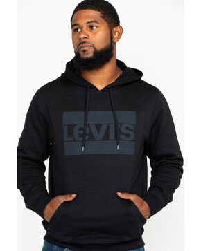 Levis Men's Black Burndlen Logo Graphic Pullover Hoodie , Black, hi-res