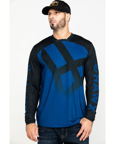 Hawx Men's Blue Logo Moto Performance Long Sleeve Work T-Shirt , Blue, hi-res