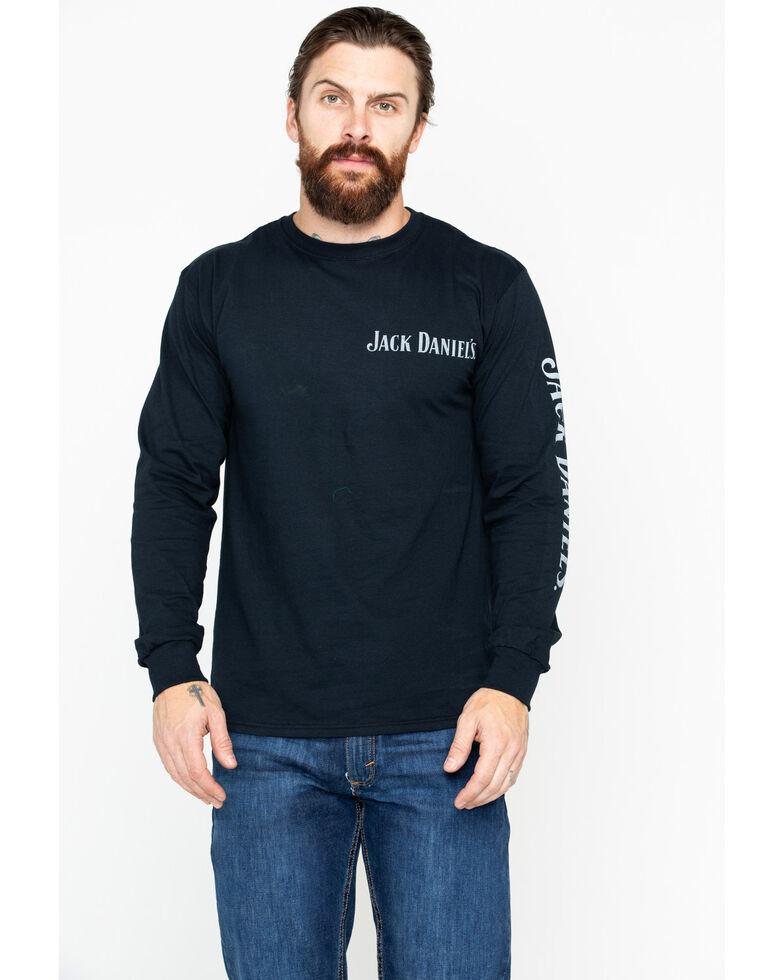 Jack Daniel's Men's Solid Bottle Print Long Sleeve Shirt , Black, hi-res