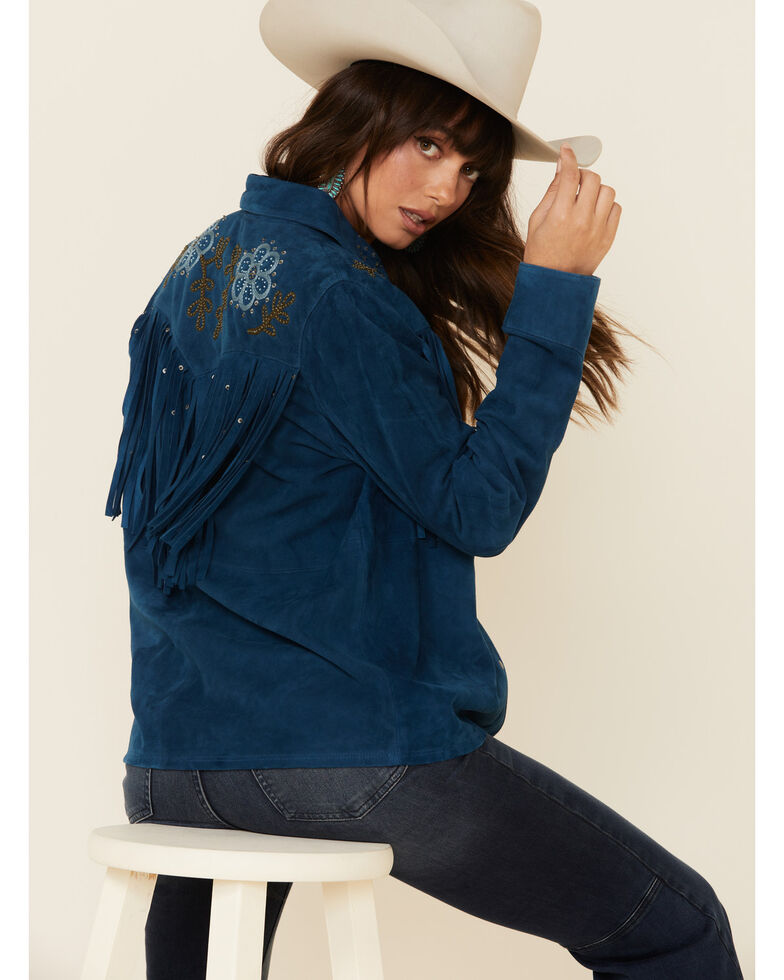 Double D Ranch Women's Lockwood Suede Shirt Jacket , Blue, hi-res