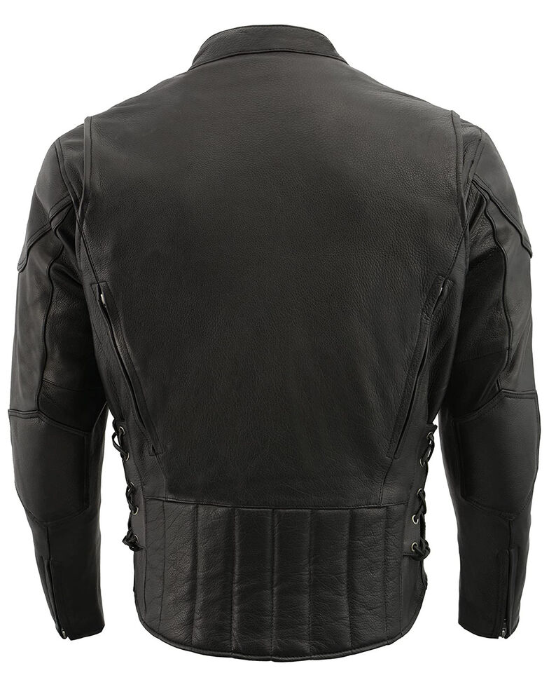 Milwaukee Leather Men's 3X Side Lace Vented Scooter Jacket - Big , Black, hi-res
