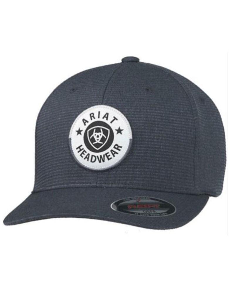 Ariat Men's Heather Black Round Patch Flex-Fit Ball Cap , Black, hi-res