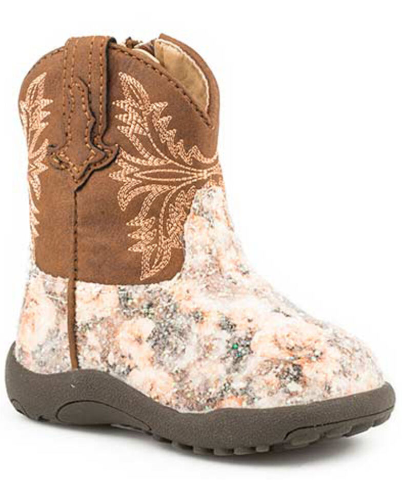 Roper Infant Girls' Claire Floral Western Boots - Round Toe, Brown, hi-res