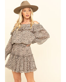 By Together Women's Leopard Off The Shoulder Dress, Taupe, hi-res