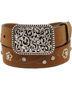 Ariat Girls' Floral Embroidered Rhinestone Belt, Med Brown, hi-res