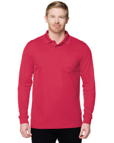 Tri-Mountain Men's Red 3X Vital Pocket Long Sleeve Polo Shirt - Big, Red, hi-res