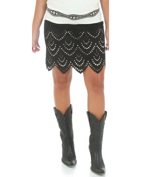 Wrangler Short Faux Suede Laser Cut Skirt, Black, hi-res