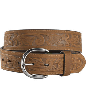Cody James Men's Brown Floral Tooled Belt, Brown, hi-res