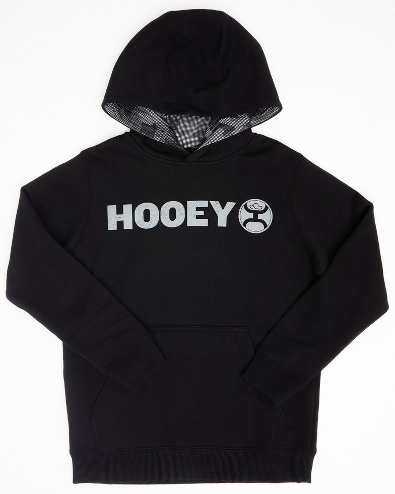 HOOey Boys' Black Lock-Up Camo Lined Hooded Sweatshirt , Black, hi-res