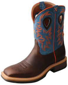 Twisted X Men's Brown Western Work Boots - Steel Toe, Dark Brown, hi-res