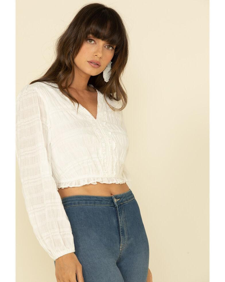 Loveriche Women's White Lace Trim Crop Top, White, hi-res