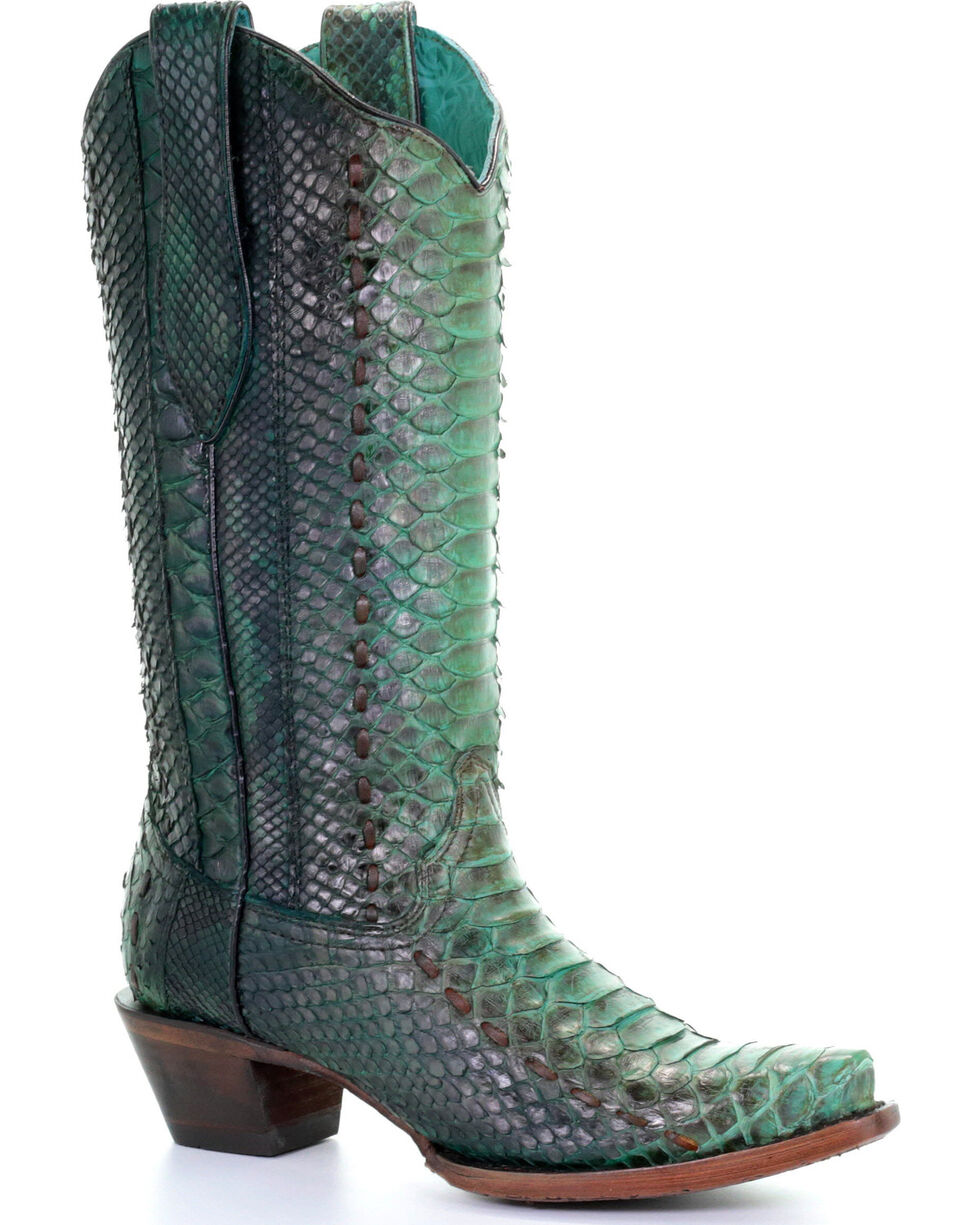 Corral Women's Turquoise Full Python Woven Cowgirl Boots - Snip Toe, Turquoise, hi-res